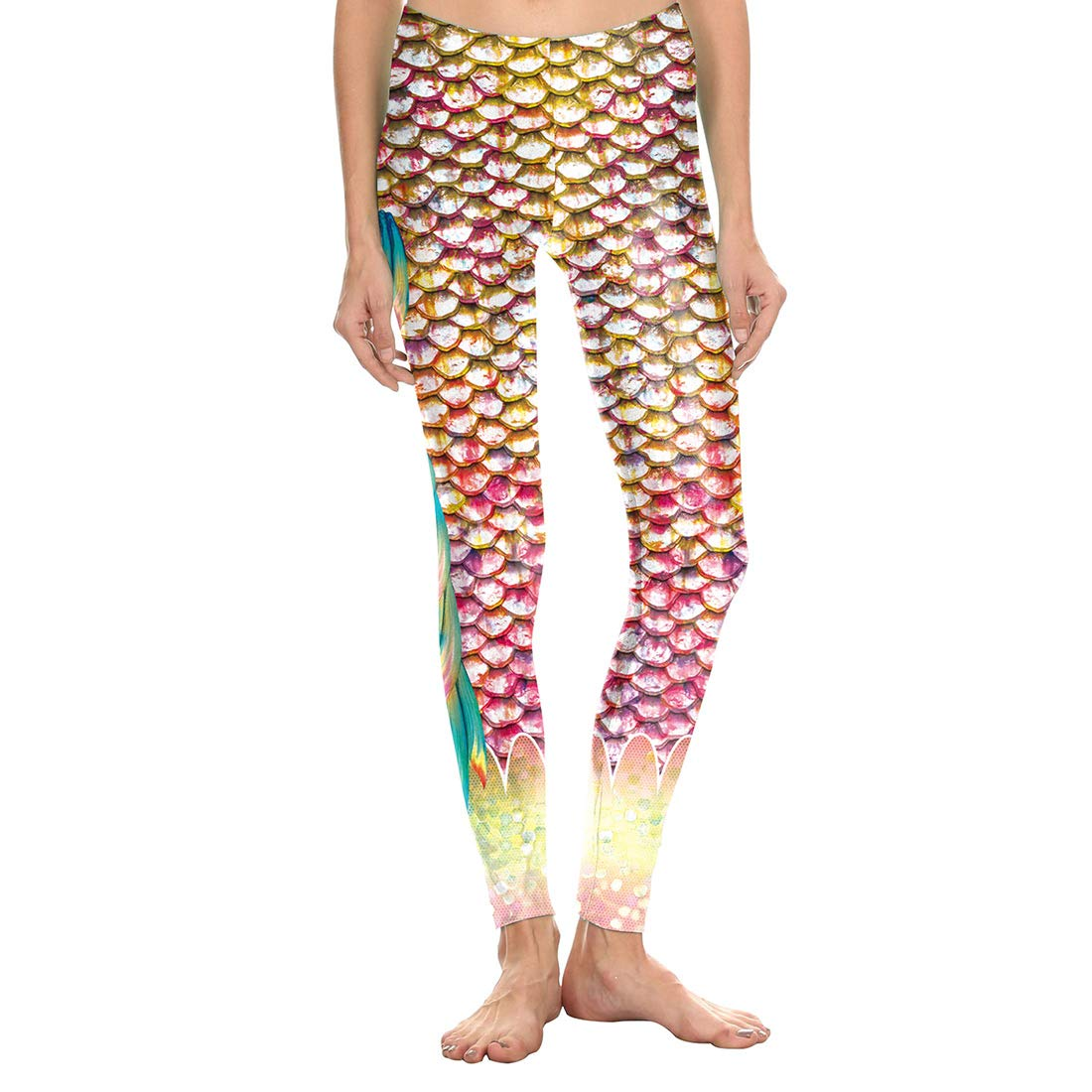 FEOYA Womens Fish Scale Leggings with Fin Printed Shiny Skiny Tights