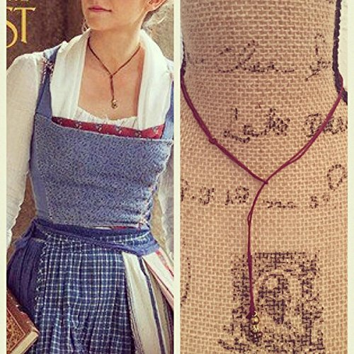 Beauty and the beast movie 2017 lariat choker Necklace Emma Watson as belle 2017 live movie handmade necklace Inspired by her look -Burgundy / red cord necklace / vegan / sustainable bamboo fiber