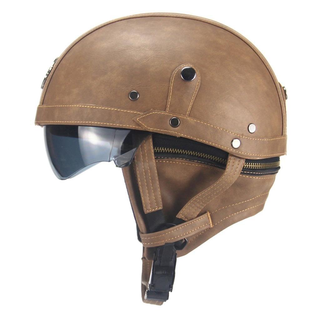 PU Harley Motorcycle Helmet Protective Gear Retro Personality Helmet Half-Helmet Summer Pedal Motorcycle Cruiser Leather Helmet Four Seasons Men and Women PROKTH