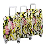Steve Madden Luggage 3 Piece Hard Case Suitcase Set With Spinner Wheels (Digital Floral)