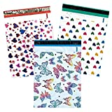 15 Pack -14 x 19 Designer Multi Pack Fun Poly Mailers, Self Seal Shipping Bags, Large Boutique Custom 2.5 Mil Envelope Flat Bags, With Kissy Lips Stickers (Butterfly and Hearts)
