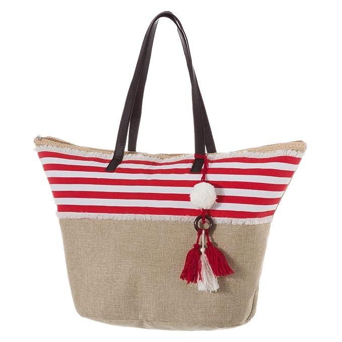 Bolso de Tela para Playa con Colgante Rojo romántico France - LOLAhome: Amazon.es: Hogar