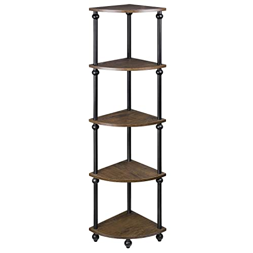 SRIWATANA Vintage Corner Table Shelf, 5-Tier Corner Bookcase, Plant Stand Storage Rack for Living Room, Home Office, Dark Walnut