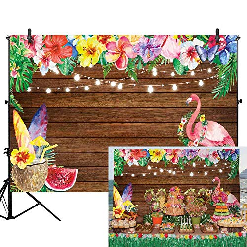 Hawaiian Party Personalized Banner - Allenjoy 7x5ft Summer Aloha Flamingo Luau Party Backdrop Tropical Hawaiian Flowers Fruits Photography Background Sea Palm Birthday Musical Party Banner Decoration Cake Table Photo Studio Booth Props
