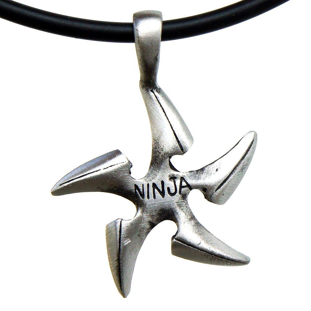 OhDeal4U Ninjutsu Ninja Throwing Star Shuriken Pewter Pendant Charm Amulet Necklace