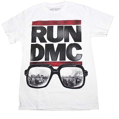 da7fa5ae00b Amazon.com  Band Merch Men s Run DMC Glasses NYC T-Shirt White  Clothing
