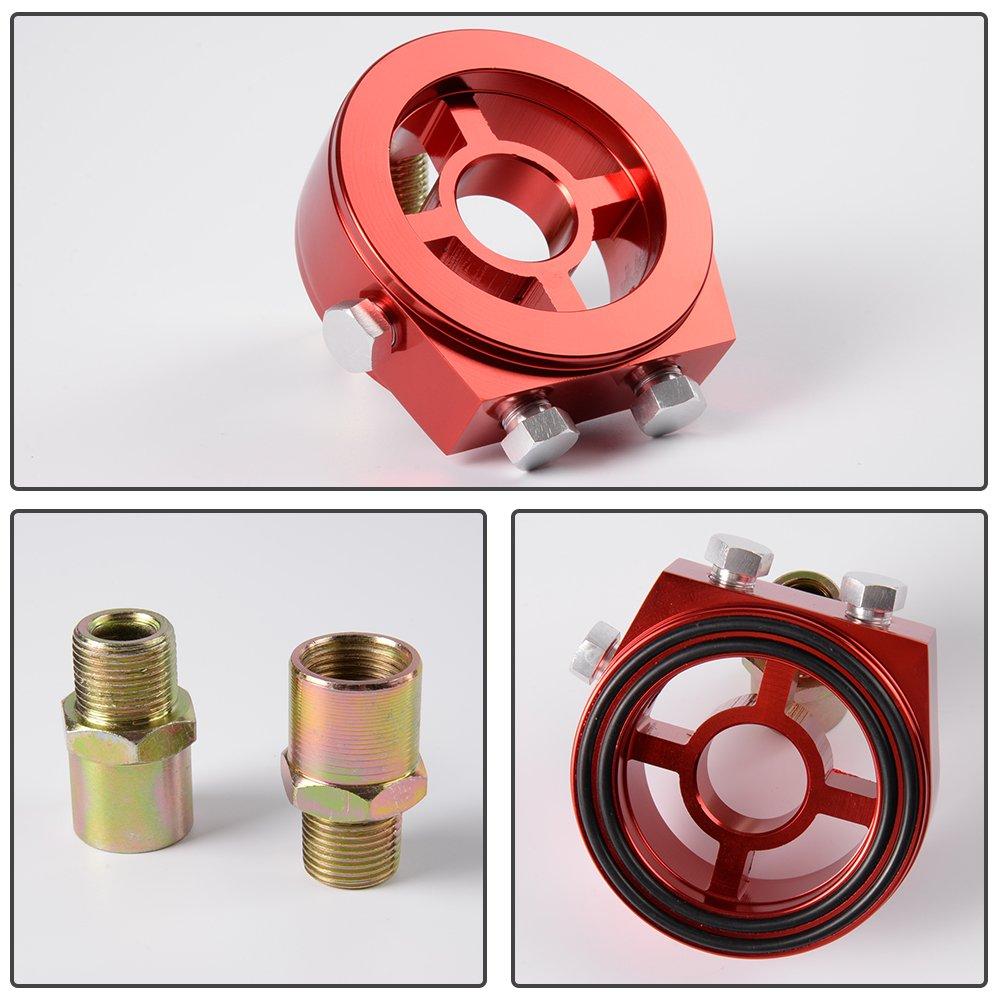 Universal M20 X 1.5 Racing Sport JDM Aluminum Oil//Gauge Filter Sandwich Adapter Plate Kit Red color
