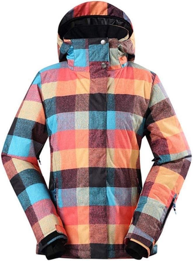 Sceliny 女性の雪のスキージャケット防水透湿性10000冬のアウトドアマウンテンスキー雪のコート (色 : Plaid, サイズ : S) Plaid Small