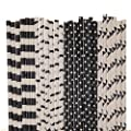 Mustache Paper Straw Mix - Black and White - Pennant Banner, Polka Dot, Striped