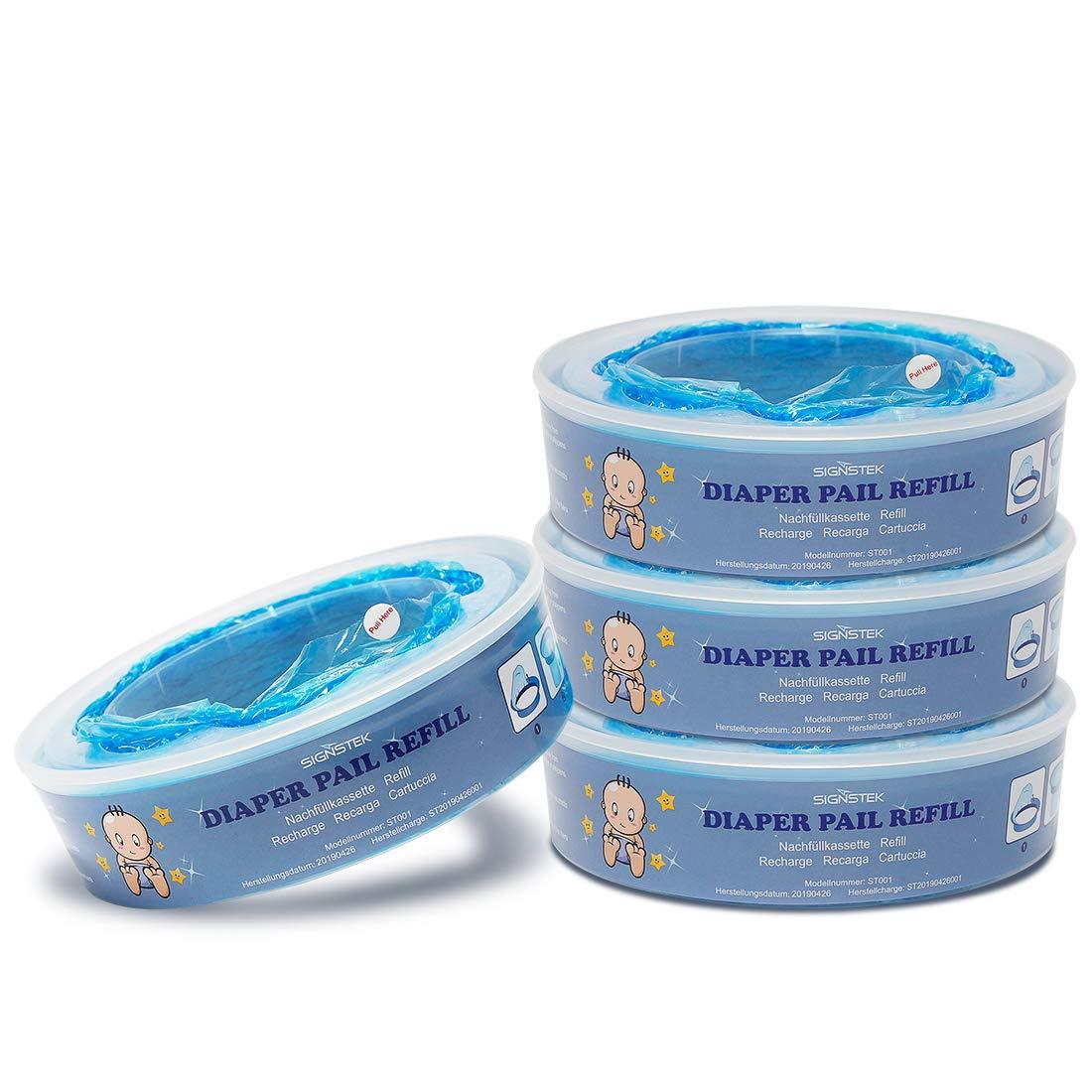 Signstek Diaper Pail Refills Compatible with Diaper Genie Pails,1080 Count, 4-Pack