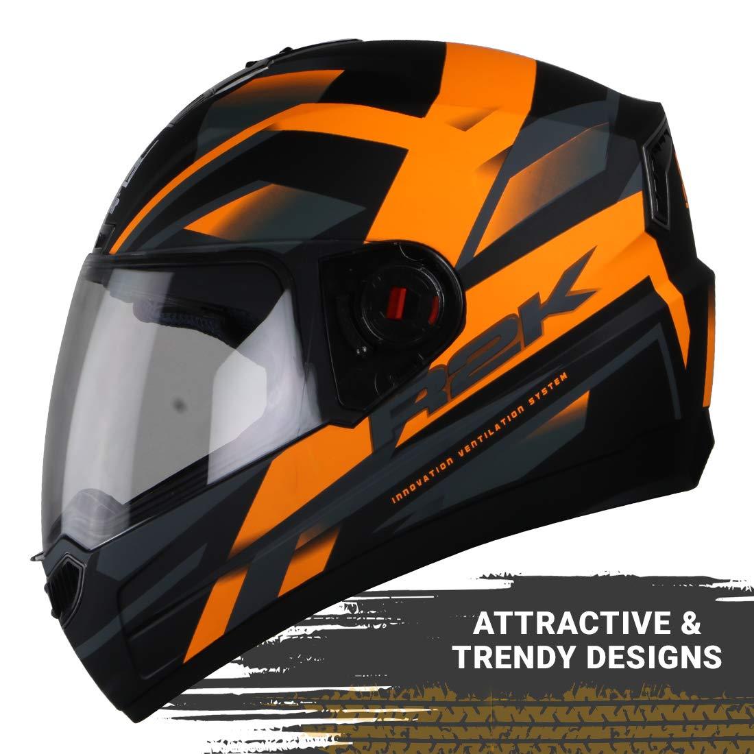 Stylish Matt Black Orange Color Steelbird SBA-1 R2K Full Face Graphics Helmet