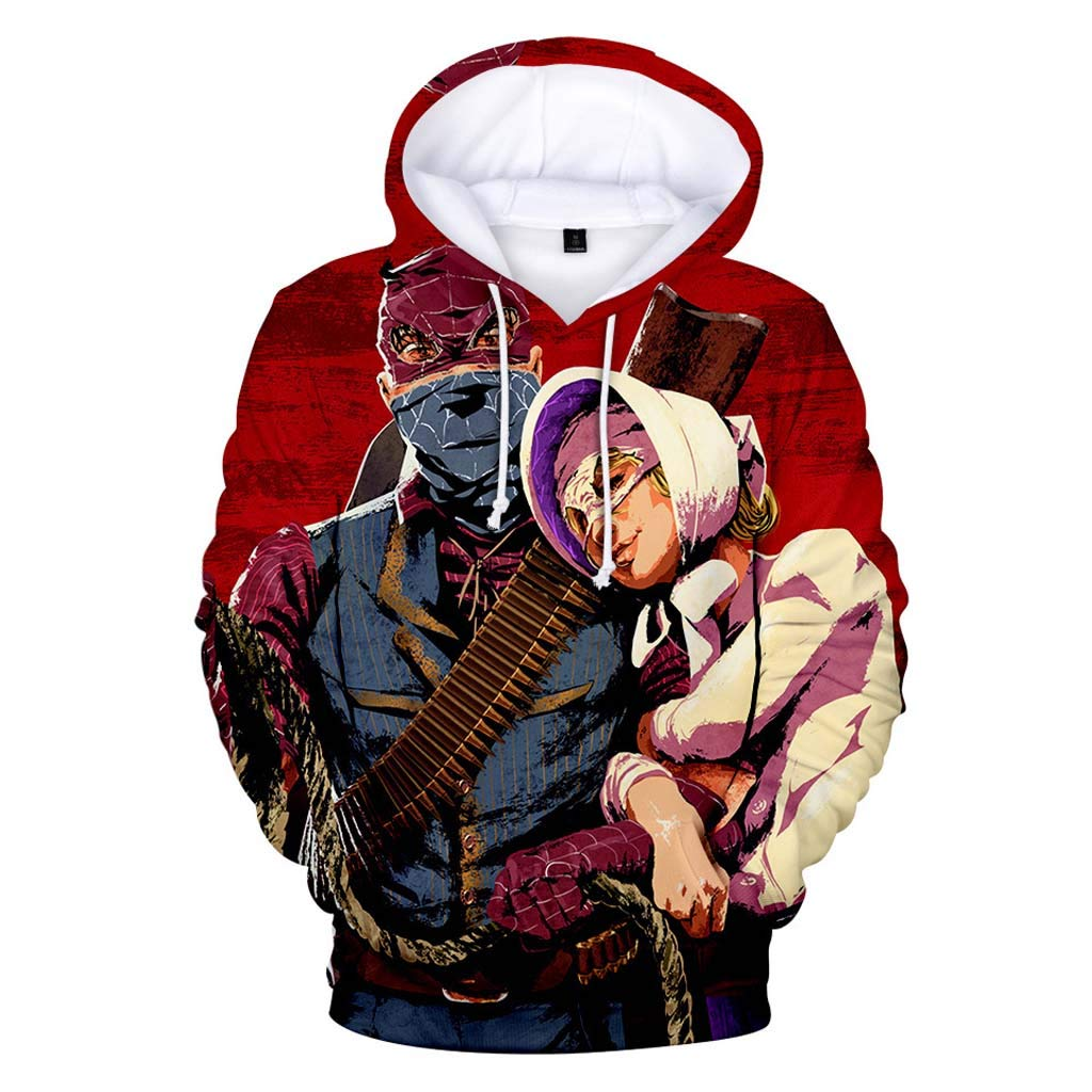 ZXTY Red Dead Redemption 2 Hoodie for Men Long Sleeve Pullover Black Sweatshirt
