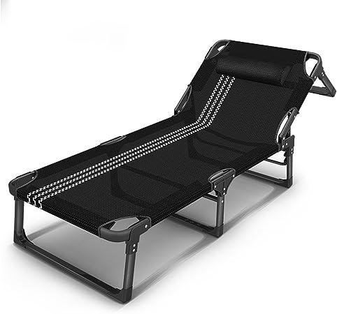 Bjl Transat Pliant Camp Sun Lounger Sun Lounger Pliable Chaise Inclinable Avec Oreiller Jardin Plage Inclinable En Plein Air Reglable Noir Couleur A Amazon Fr Cuisine Maison