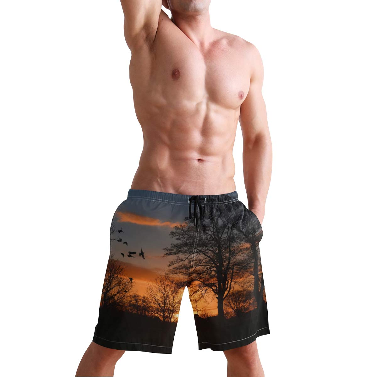 Mens Beach Swim Trunks Sunrise Bird Tree Boxer Swimsuit Underwear Board Shorts with Pocket