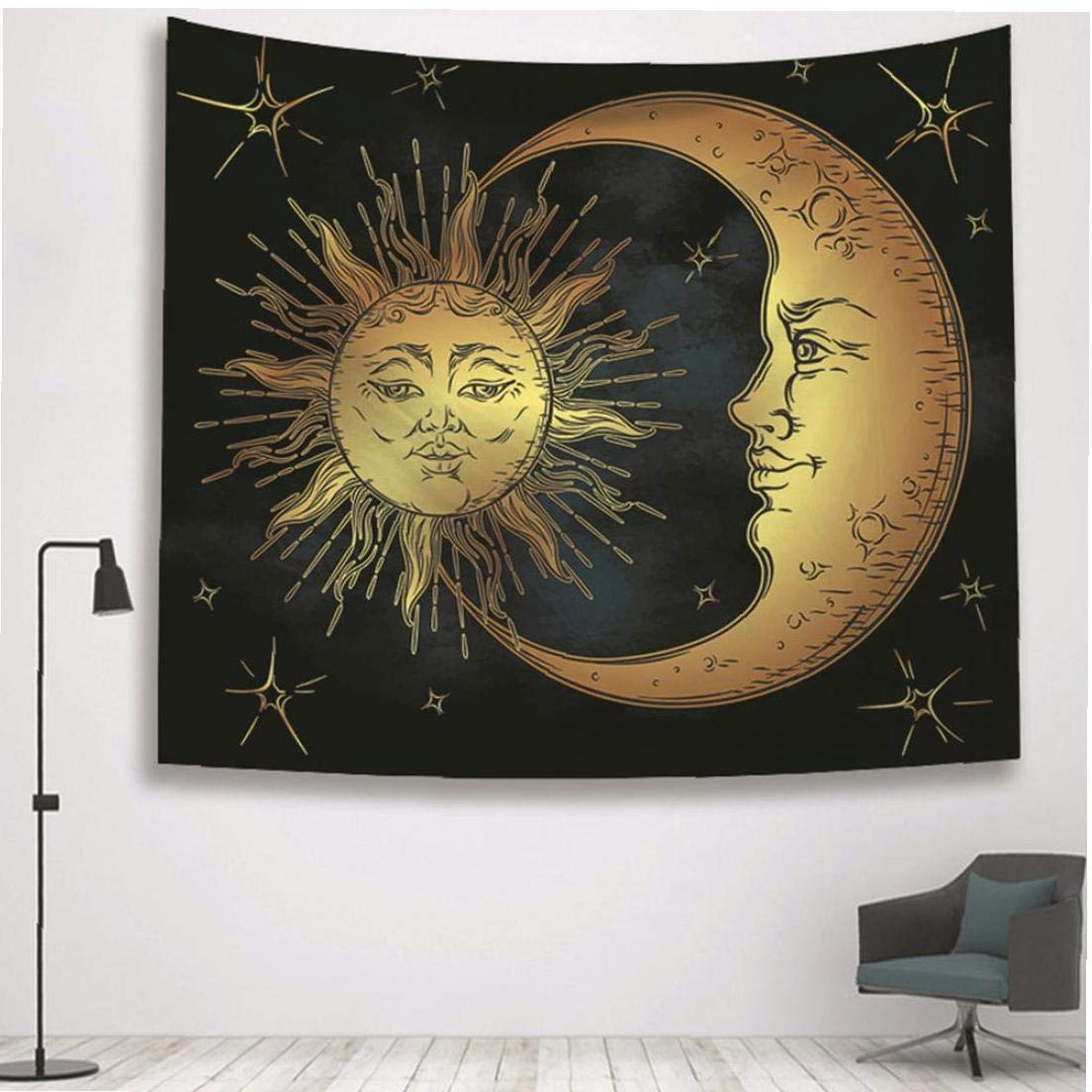 Sun celestial Luna Hippie colgar de la pared de la tapicer/ía de tela Brujer/ía pared Tapices de alfombras