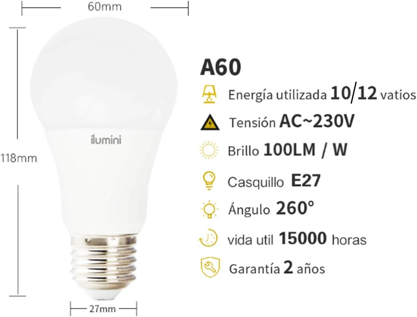Casquillo E27,10W equivalente a 70w 950 L/úmenes ilumini Bombillas LED A60 Estand/ár Clase de eficiencia energ/ética A+ 3000K Luz C/álida PACK DE 5