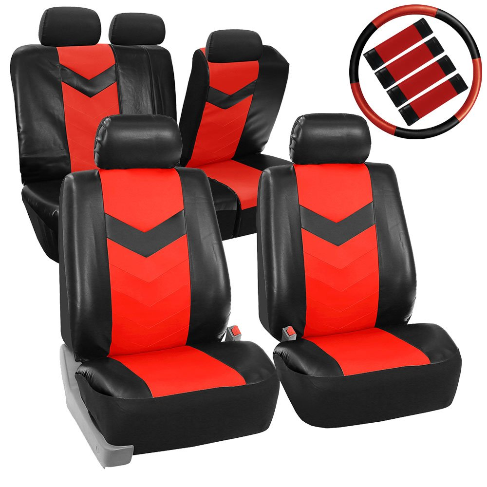 FH Group FH-PU021115 Synthetic Leather Full Set Auto Seat Covers w. Steering Wheel Cover & Seat Belt Pads, Red Black Color (Minimal Black Stains Final Sale)