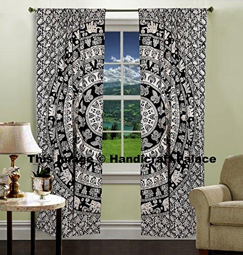 Indian Urban Elephant Mandala Wall Tapestry Boho Decorative Curtains Window Curtain Window Treatment Panels Set Large Full Window Cover Elegant Curtians - Indian Window Curtains