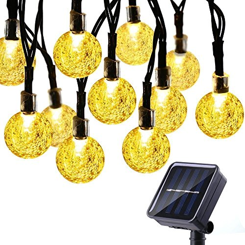 Icicle Solar String Lights,Waterproof 30 LED Crystal Globe String Lights for Outdoor/Indoor Decorations, Warm White,(20-Feet)