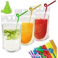 100 Pcs Stand-Up Drink bolsas Sacos Com 100 Drink Bolsas palhas Heat-Proof Transparente 23 * 12.9cm