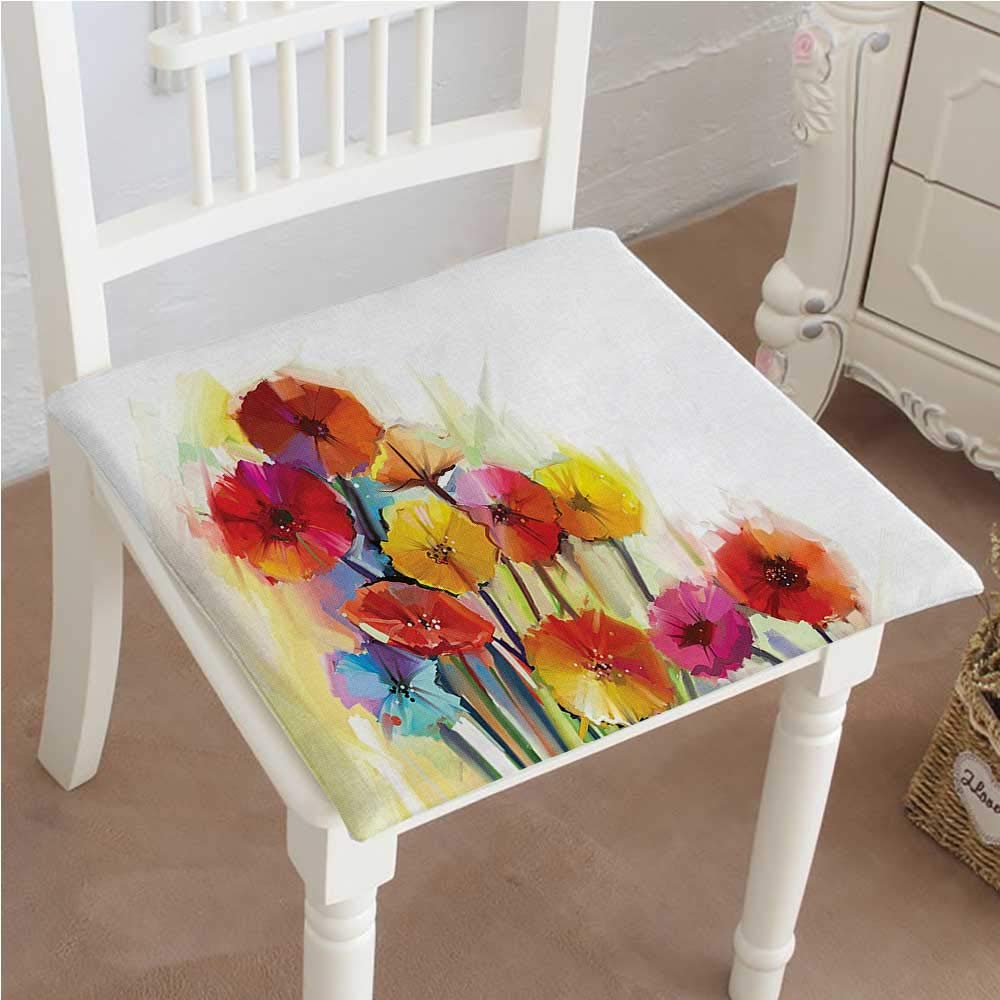 Mikihome Dining Chair Pad Cushion Flower Gerbera Bouquets Romance Elegance Fragrance Blossom Red Yellow Fashions Indoor/Outdoor Bistro Chair Cushion 16''x16''x2pcs