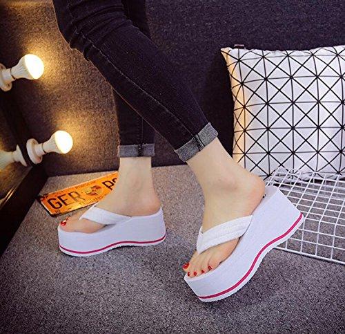 Femmes Pantoufles Blanc D'Été Tongs Blanc Vacances DANDANJIE Talons Tongs Anti et Chaussures Hauts à Talons de Dérapant Talons Noir Rose dF1wSq
