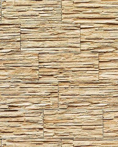 Vinyl wallpaper wall modern textured stone natural 1003-31 brick decor washable sand beige brown 5.33 sqm (57 sq