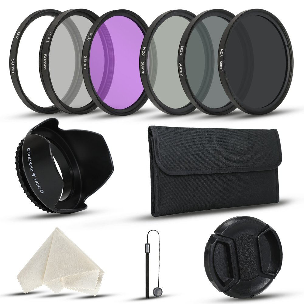 58mm Camera Lens Filter Kits for DLSR Canon Nikon Fujifilm Cameras with UV CPL (Polarizer Filter) FLD, ND2, ND4, ND8 Filters, Filter Pouch, Lens Cap, Lens Hood by UFPhoto