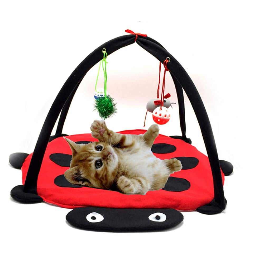 LTLHXM Mat Bed Hammock Tent with Hanging Mouse Bell Balls Multi-Function Pet Kitten Cat Interactive Activity Soft Fleece Folding Toy,Red