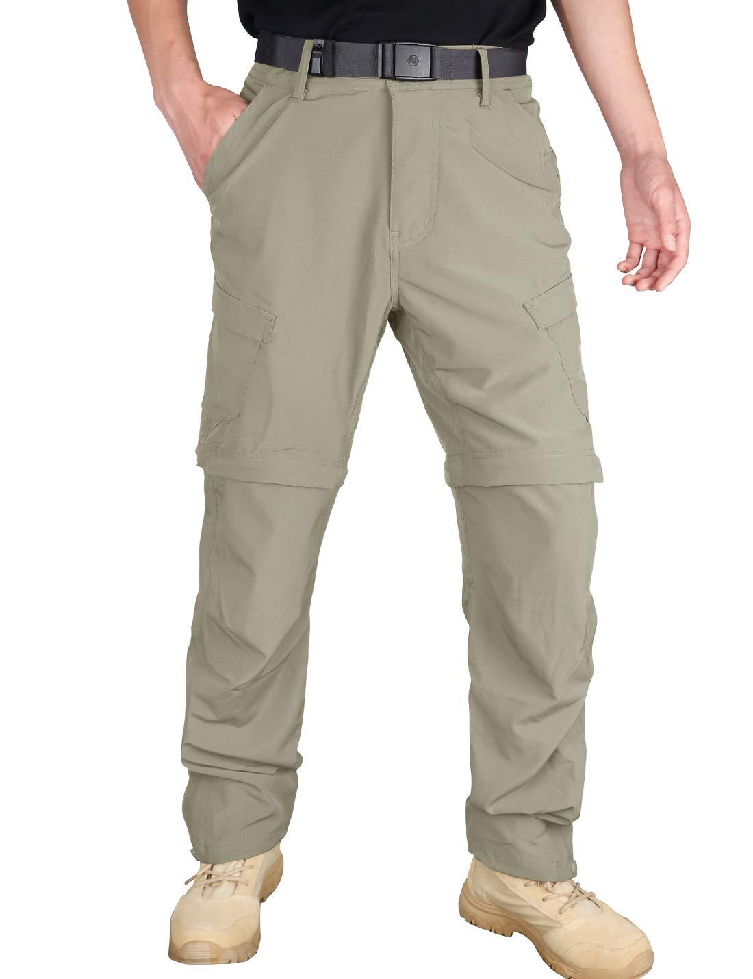 HARD LAND Hiking Pants Mens Convertible Quick Dry Lightweight Zip Off Travel Cargo Pants UV Protection Zipper Legs Khaki 38W×32L by HARD LAND