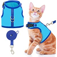 BINGPET Cat Harness with Leash Escape Proof - Fashionable Mesh Cat Dog Walking Harness Leads, Adjustable for Kitties…