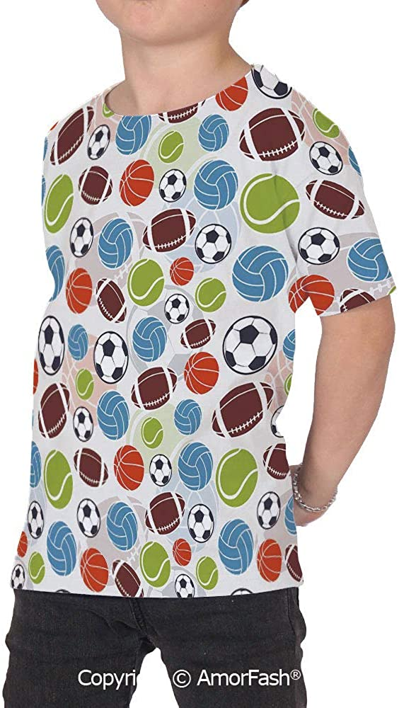 Sport Boys and Girls All Over Print T-Shirt,Crew Neck T-Shirt,Sports Balls Patte