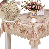 homand'o Beige Lace Tablecloth with Floral Printed Jacquard Fabric Elegant Tablecover for Home Decor (Square 65x65inches(165x165cm))