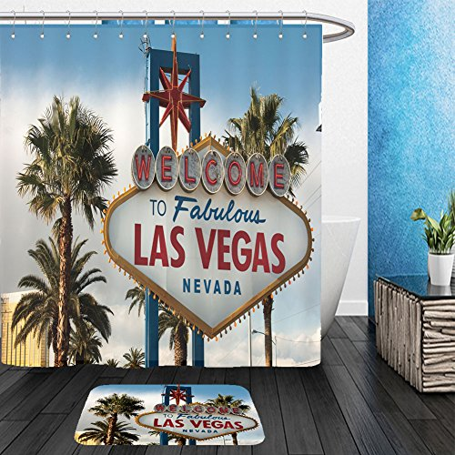 [Vanfan Bathroom 2 Suits 1 Shower Curtains &  1 Floor Mats Welcome to Las Vegas Nevada Skyline City Limit Street Sign_178731115 From Bath room] (Vegas High Roller Costume)