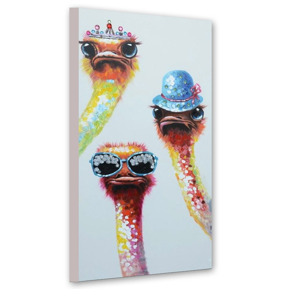 Faicai Art Hand Painted 3 Ostriches Paintings Lovely Canvas Animal Paintings Funny Ostrich Wall Decor Pictures Modern Canvas Wall Art Home Decor For Living Room Office Bedroom Ready to Hang 20''x40''