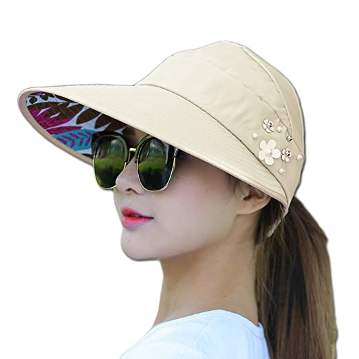 ca765f39ca2e3 9Lucky Tech Sun Hats for Women Big Brim Sun Hat UV Protection Caps UPF 50+