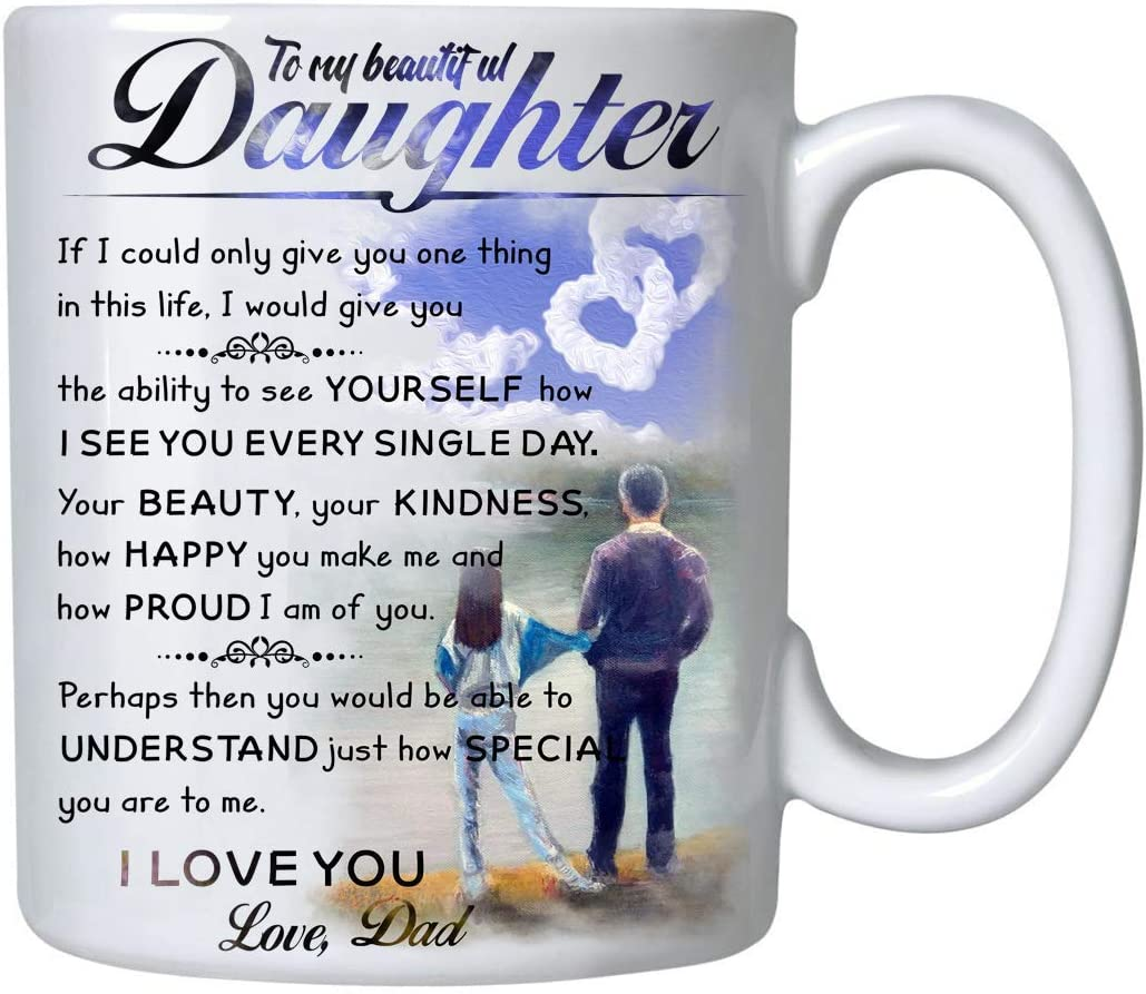 Amazon Com Gifts For Daughter From Dad To My Daughter Canvas Coffee Mug 11oz Novelty Ceramic Cup Christmas Xmas Birthday Wedding Fathers Day Graduation Valentine S Day Gift Ideas For Daughters