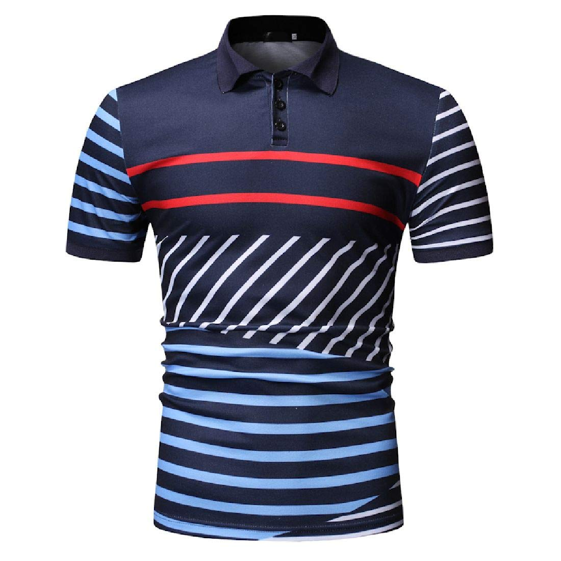 Domple Men Casual Summer Color Blocks Business Striped Short Sleeve Polo Shirt
