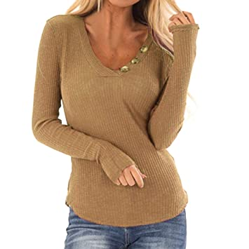 bcff1ac94f6 Image Unavailable. Image not available for. Color  Women Sweatshirt V-neck Long  Sleeve Solid Blouse Shirt Elastic Pullover Tops ...