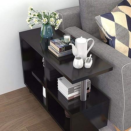 Libreria Lámpara de mesa de café con mesa auxiliar, mesa auxiliar, mesa auxiliar europea, versión mejorada con estantería de almacenamiento de 2 capas Soporte de tubo de acero Armario de libreria mult: