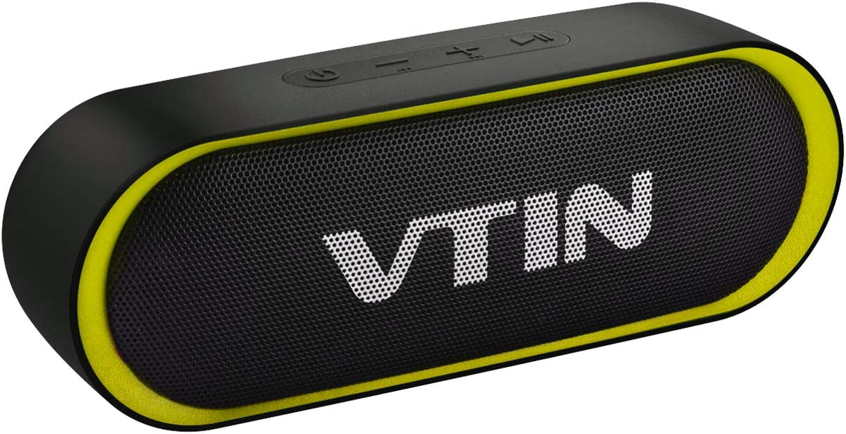 VTIN R4 Bluetooth Speaker 12W, Portable Speaker Bluetooth V5.0, 24H Playtime, IPX5 Waterproof Speaker, HD Sound Bluetooth Speaker, Built-in Mic, Support TF Card, Suitable for Home and Outdoor