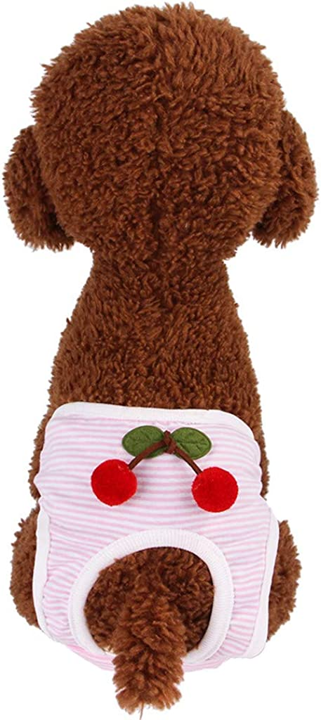 Sayhi Pet Physiology Pants Cherry Style Safety Pants Cat Costume Summer Apparel Dogs Outfit Pet Clothes for Dogs Female