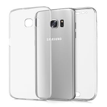 kwmobile Funda compatible conSamsung Galaxy S7 edge - Carcasa completa [360] de [silicona] para móvil en [transparente]