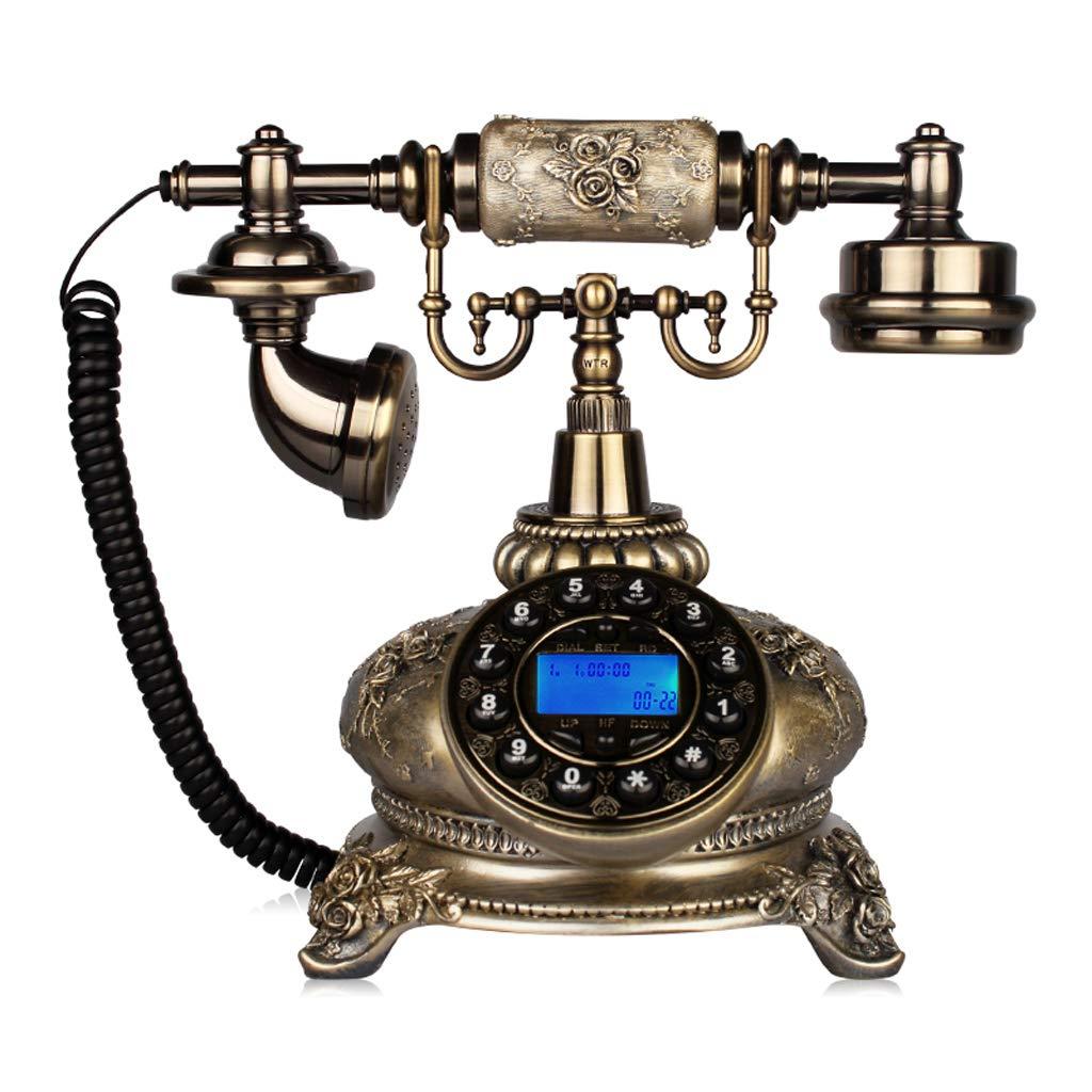 回転固定式固定電話、家庭用、レトロビンテージアンティーク有線固定式家庭用電話およびオフィス用装飾、さまざまなスタイルから選択可能 (三 : White-AA) B07K24QFYV Bronze -a