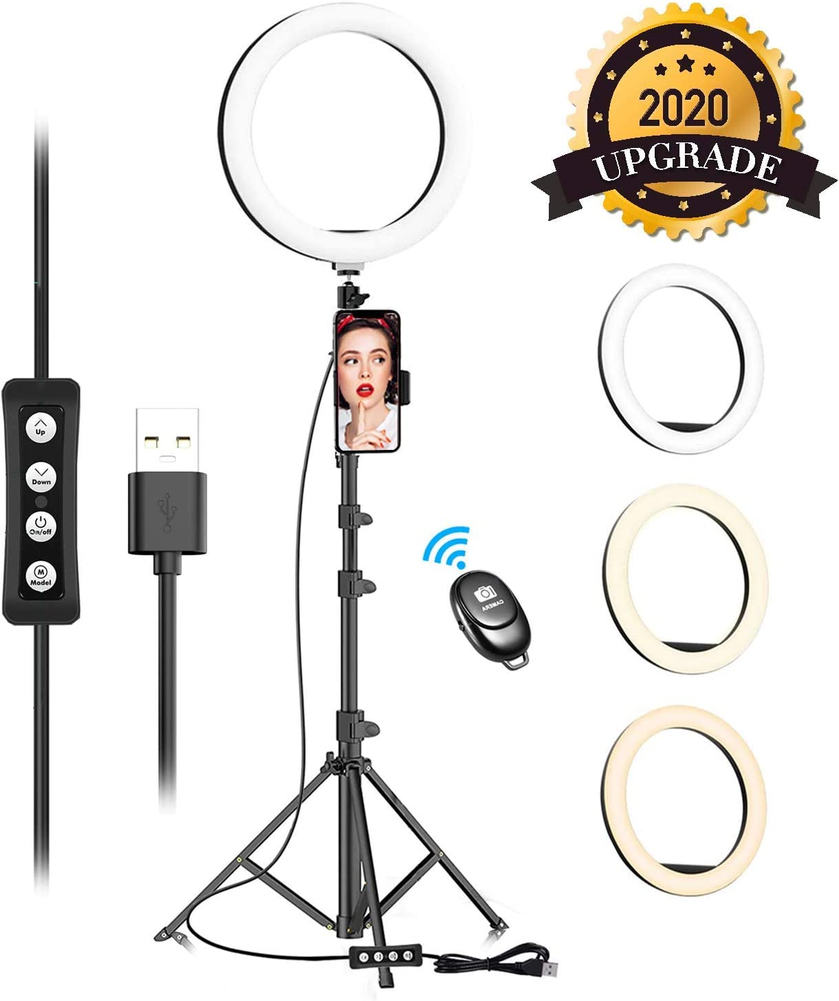 """10"""" Selfie Ring Light with Adjustable Tripod Stand & Phone Holder for Live Stream/Makeup, Upgraded Dimmable LED Camera Ringlight for Tiktok/YouTube/Zoom/Photography, Compatible with iPhone & Android"""