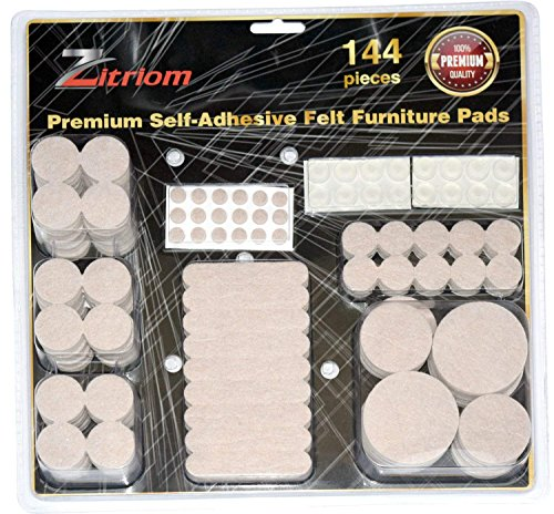 Furniture Pads - Anti Skid Self Adhesive Scratch Protectors for Carpets, Tiles, Laminates and Hardwood Floors - Set of 144 Various Size Cover Pieces (Beige) Contains Silicone Bumper Pads for Walls