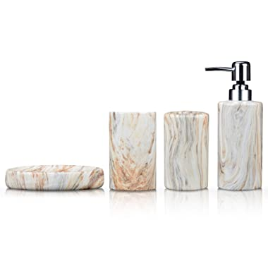 Fimary Ceramic Bathroom Accessories Set White - Including 4 Piece Marble Bathroom Accessories Set Soap Dispenser, Toothbrush Holder, Tumbler, Soap Dish, The Best Gift Choice