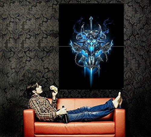 (World of Warcraft Death Knight Sword Frost Logo Emblem Banner Game Fan Art 47x35 Huge Giant Poster Print)