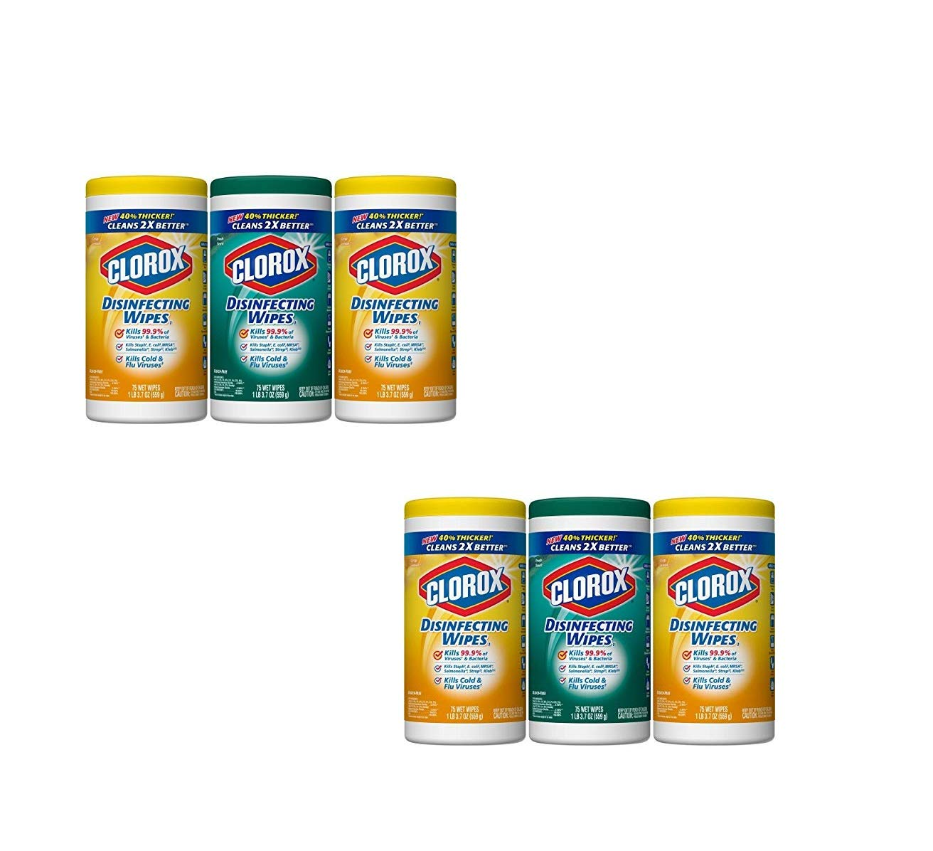 Disinfecting Wipes Value Pack, Crisp Lemon and Fresh Scent - 3 Pack - 75 Each (Pack of 6)