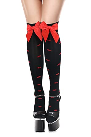 9e63d6290f5 Image Unavailable. Image not available for. Colour  Charmian Women s  Christmas Kiss Pattern Thigh High Stockings With Bows